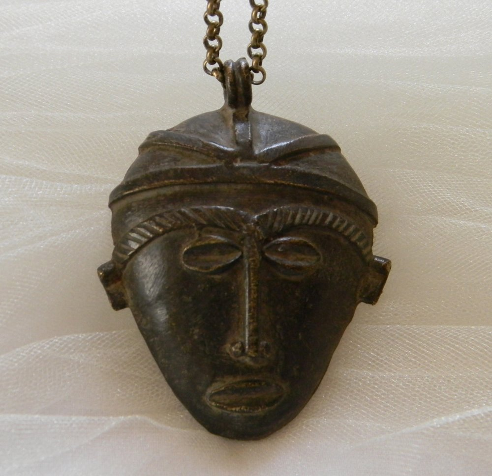 ⭐⭐⭐⭐⭐ Vintage African Brass Mask With Brass Chain Necklace