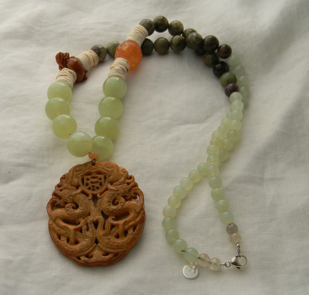 Double dragon jade pendant on large new jade & opal beads necklace , oval orange peel color Chinese jade