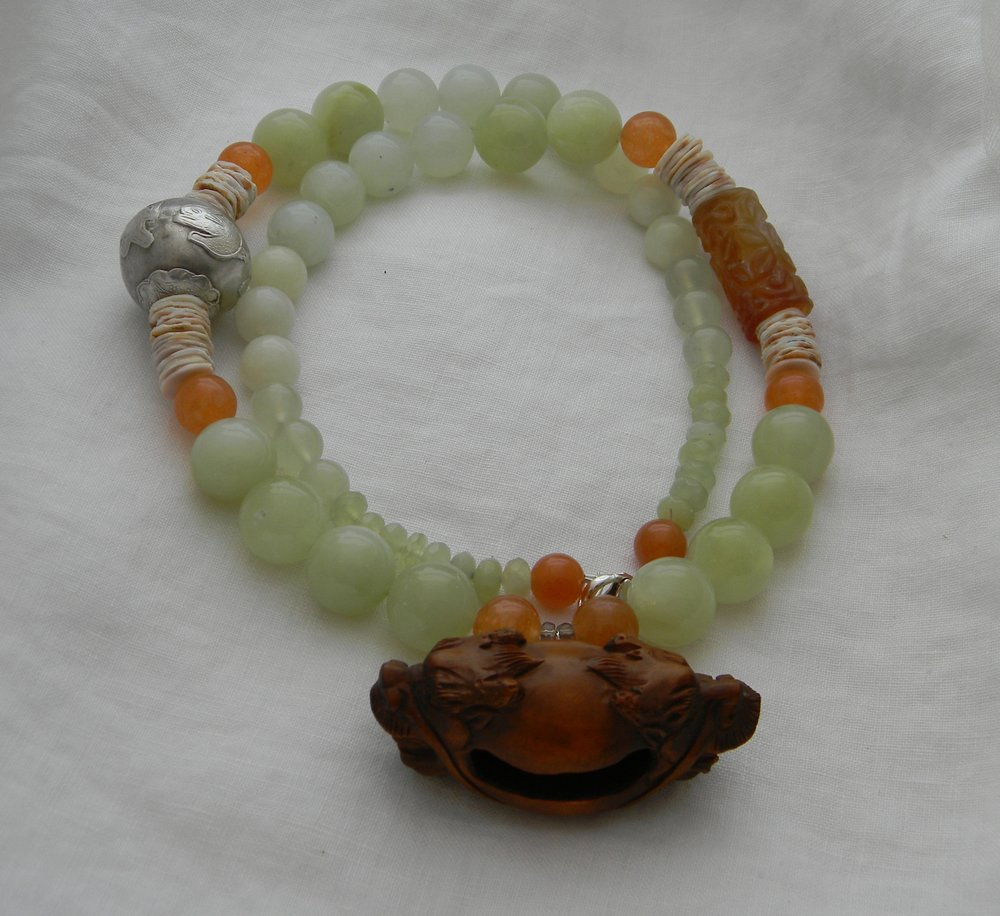 Fu Dog Netsuke on chunky new jade beads necklace , large Netsuke ,