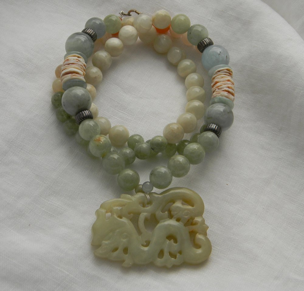 Jade double dragon pendant on aquamarine beads necklace , Chinese carved jade & moonstone