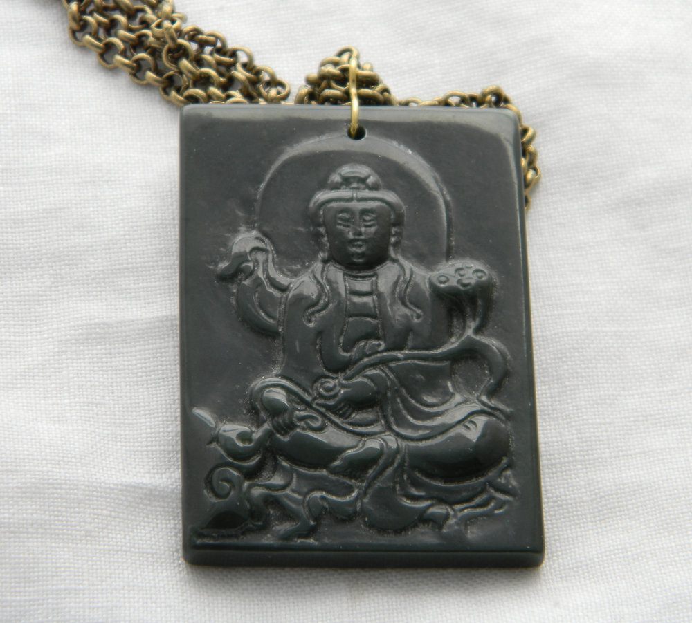Vintage jade Kwan Yin pendant on brass chain necklace , Buddhist icon