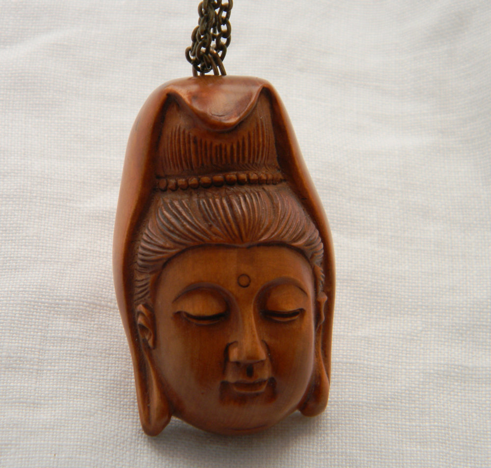 Netsuke Kwan Yin on brass chain necklace , carved Japanese Boxwood Netsuke , Buddhist religious icon , Goddess of Mercy , wood bead pendant