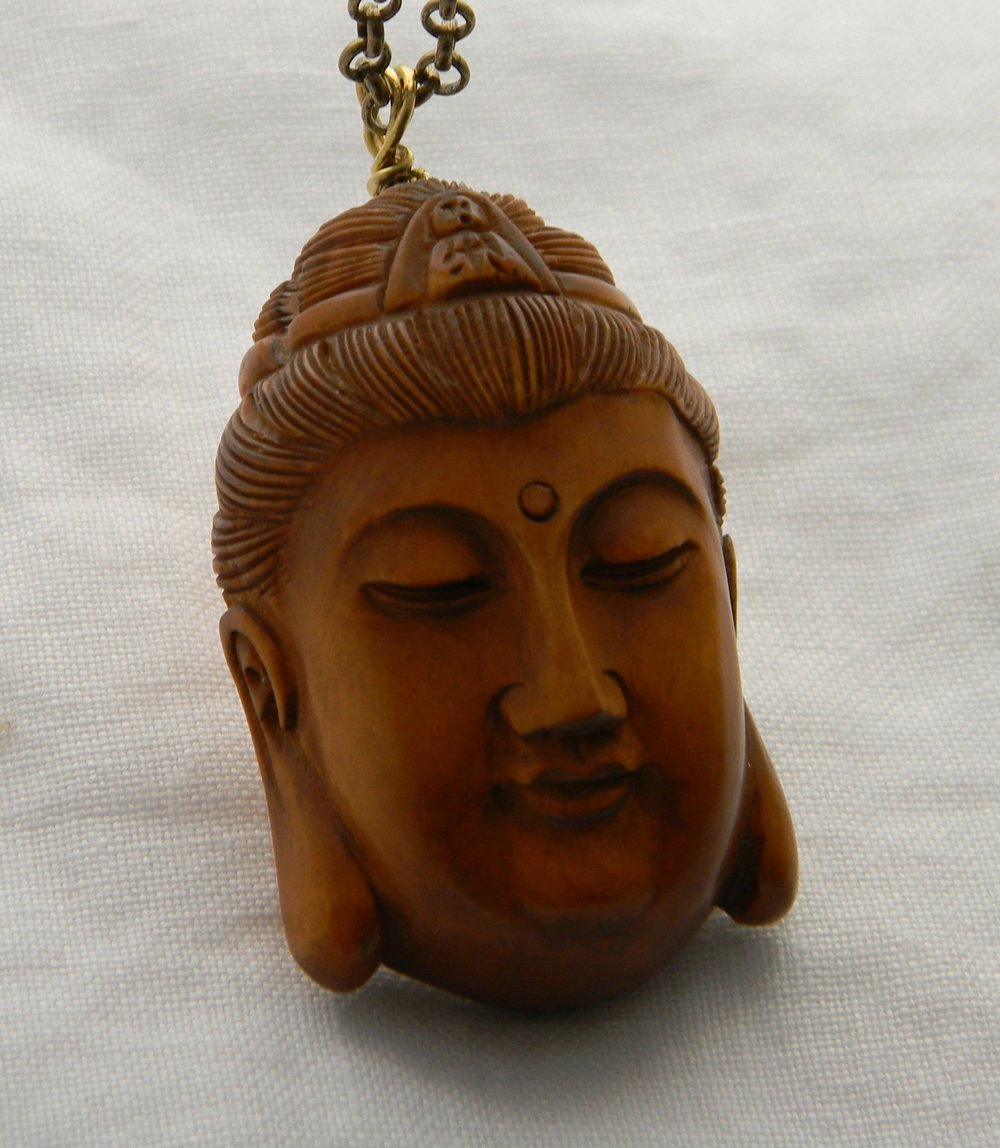 Buddha Netsuke pendant on brass chain necklace , large Japanese Boxwood Buddhist icon , carved wood pendant , Buddhist religious icon , wood
