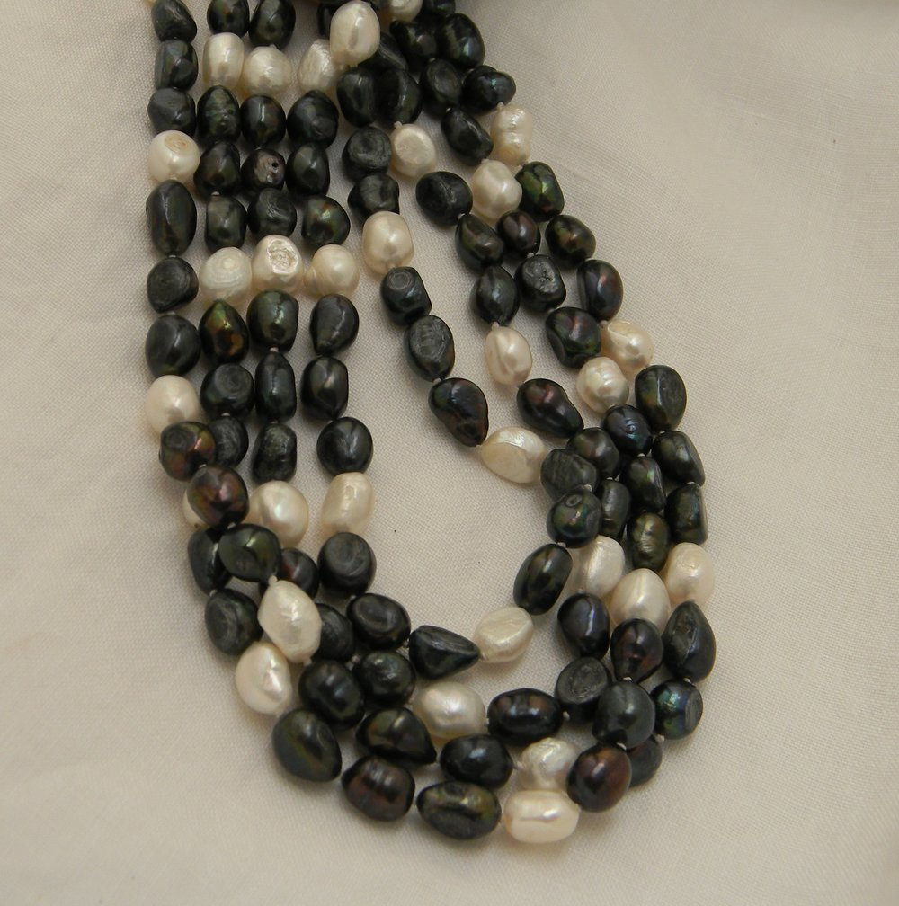Fresh water pearls bi color long strand endless necklace for women , four strands asymmetrical dark peacock & creamy white cultured pearls