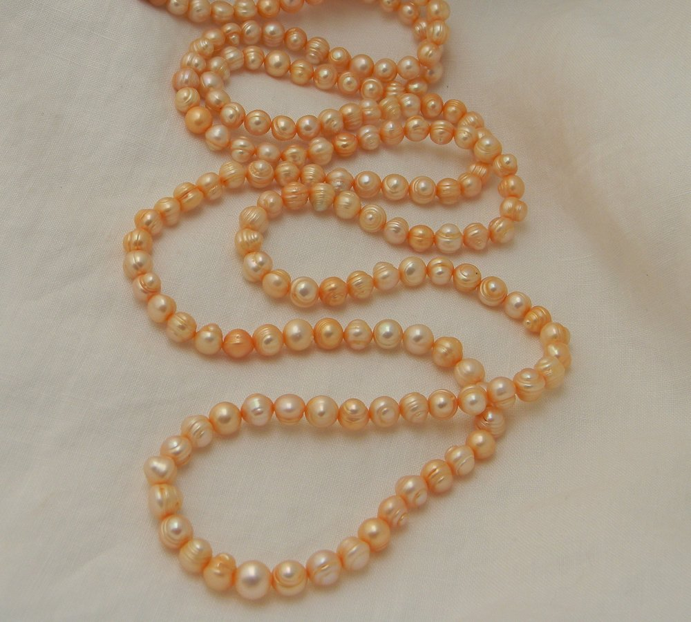 Fresh water pearls strand necklace , pale orange pearls , perfect imperfect pearls , long single strand baroque pearls , necklace for women