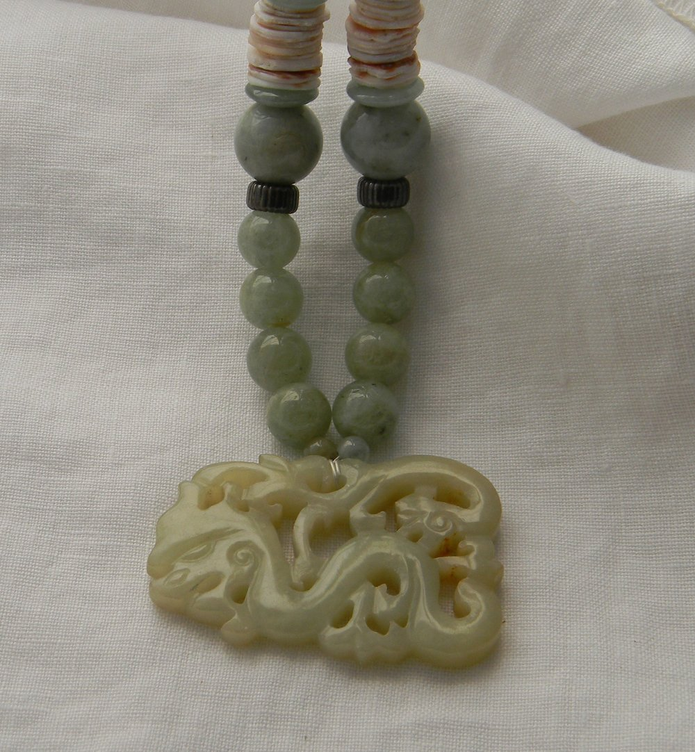 Jade double dragon pendant on aquamarine beads necklace , Chinese carved jade & moonstone , asymmetrical pendant , Asian necklace for women