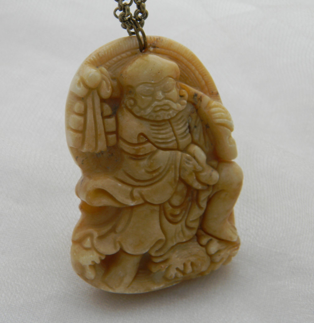 Jade figurine pendant on brass chain necklace , faded yellow vintage Chinese jade , ancient man figurine , double strand chain jade jewelry
