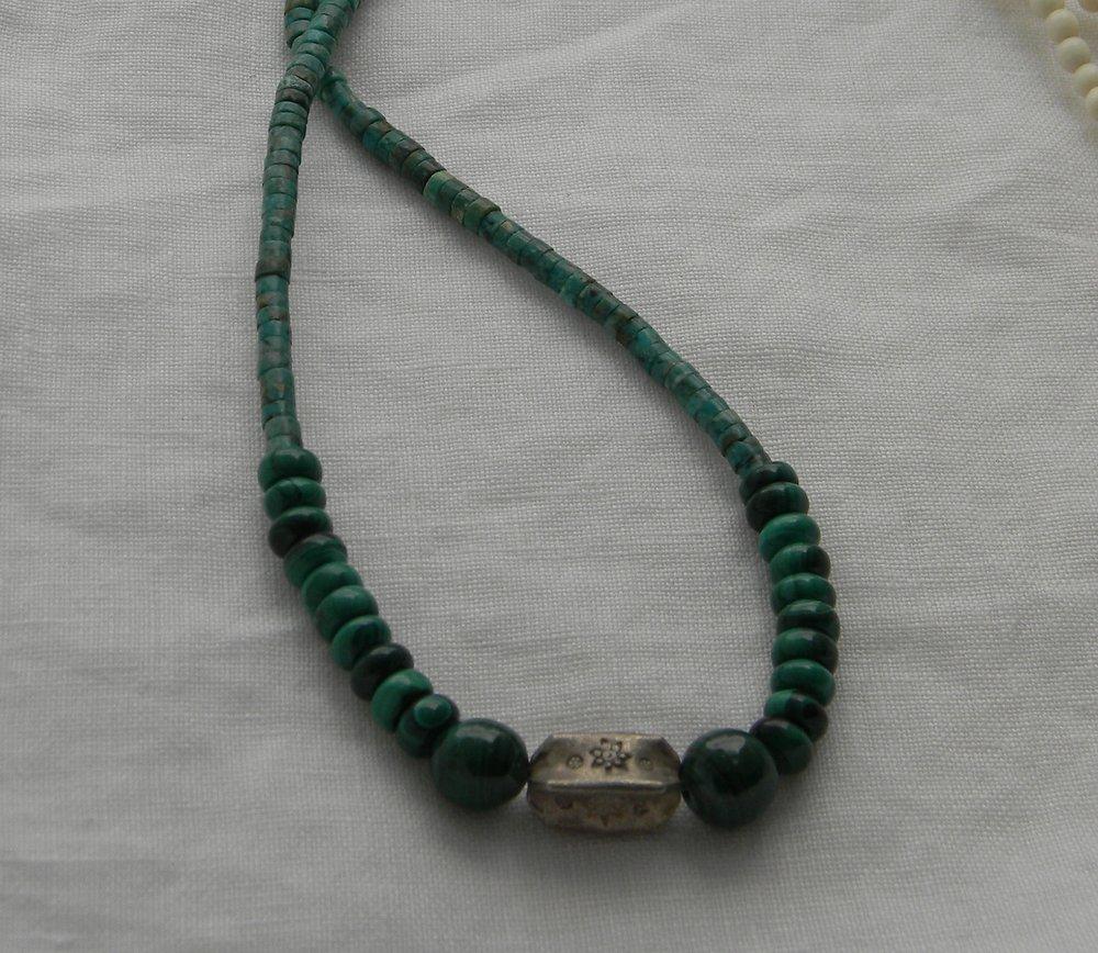 Thai silver bead pendant on malachite & turquoise beaded necklace for men , healing malachite , turquoise chakra gemstone , men's jewelry