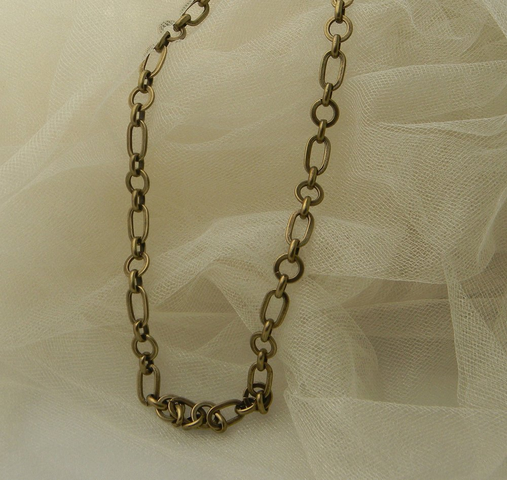 Brass chain necklace for men , single strand chain , necklace for men , designer chain , one strand or pair , unusual and unique style chain