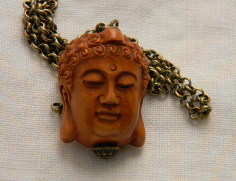 Buddha Netsuke pendant on brass chain necklace , small Japanese Boxwood Buddhist icon , carved wood bead , Buddhist spiritual religious icon