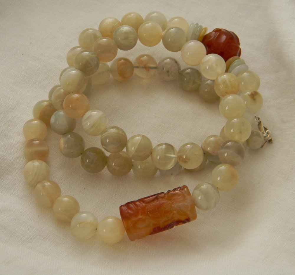 Peach moonstone beads necklace & carved carnelian bead charms , large bead chunky necklace , long single strand/ gemstone necklace for women