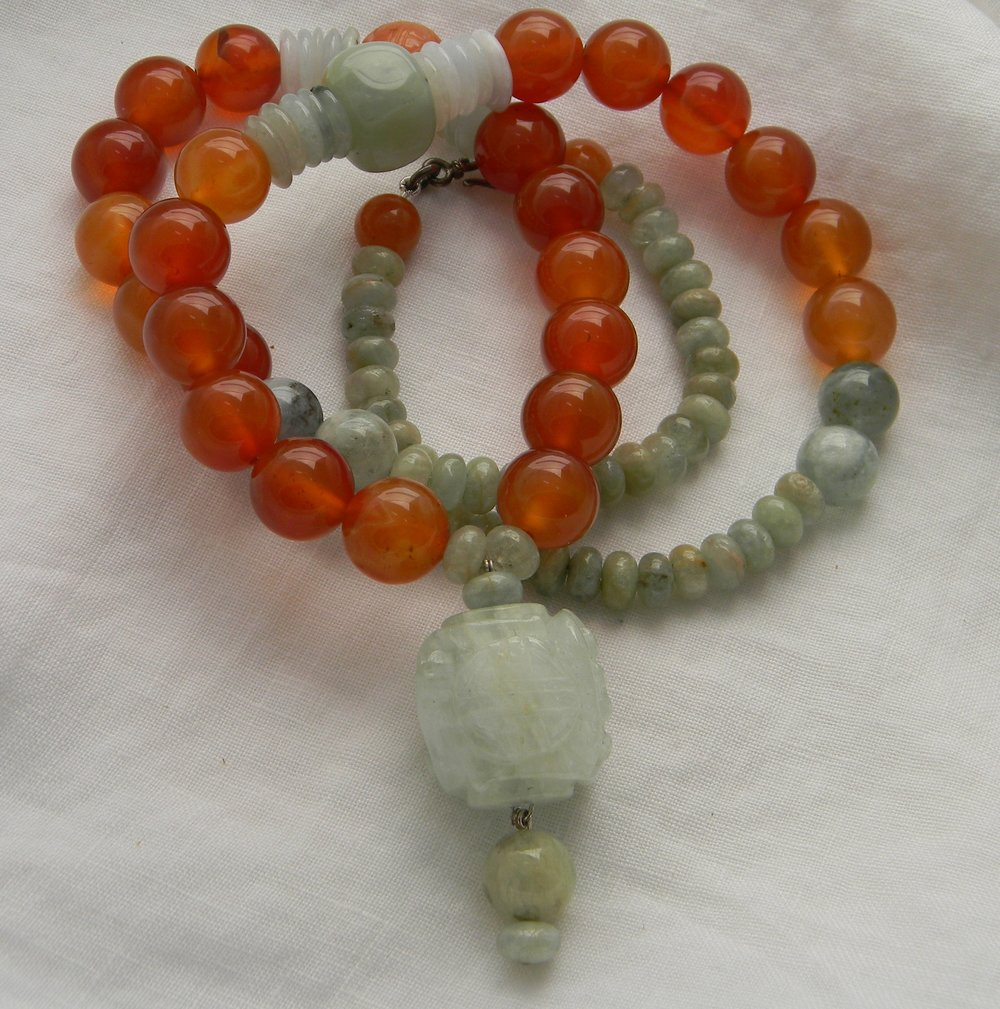Carved aquamarine cube pendant on large carnelian beads necklace , jade & aquamarine beads , large bead necklace , chunky necklace for women