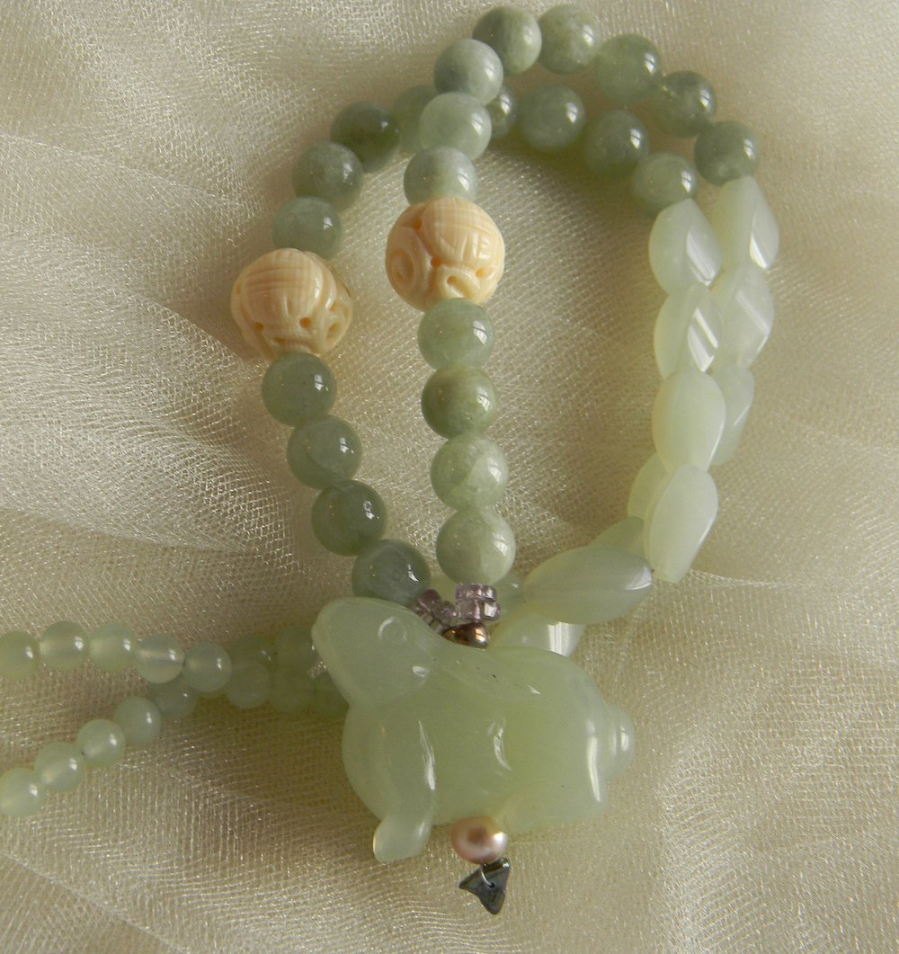 Jade rabbit pendant w aquamarine & carved prehnite beads necklace , celadon jade pendant necklace , beaded jewelry , jade longevity talisman