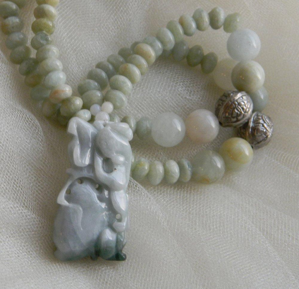 Vintage jade pendant w aquamarine necklace , beaded jewelry , Chinese jade pendant & silver , jade jewelry , jade/ aquamarine beads necklace