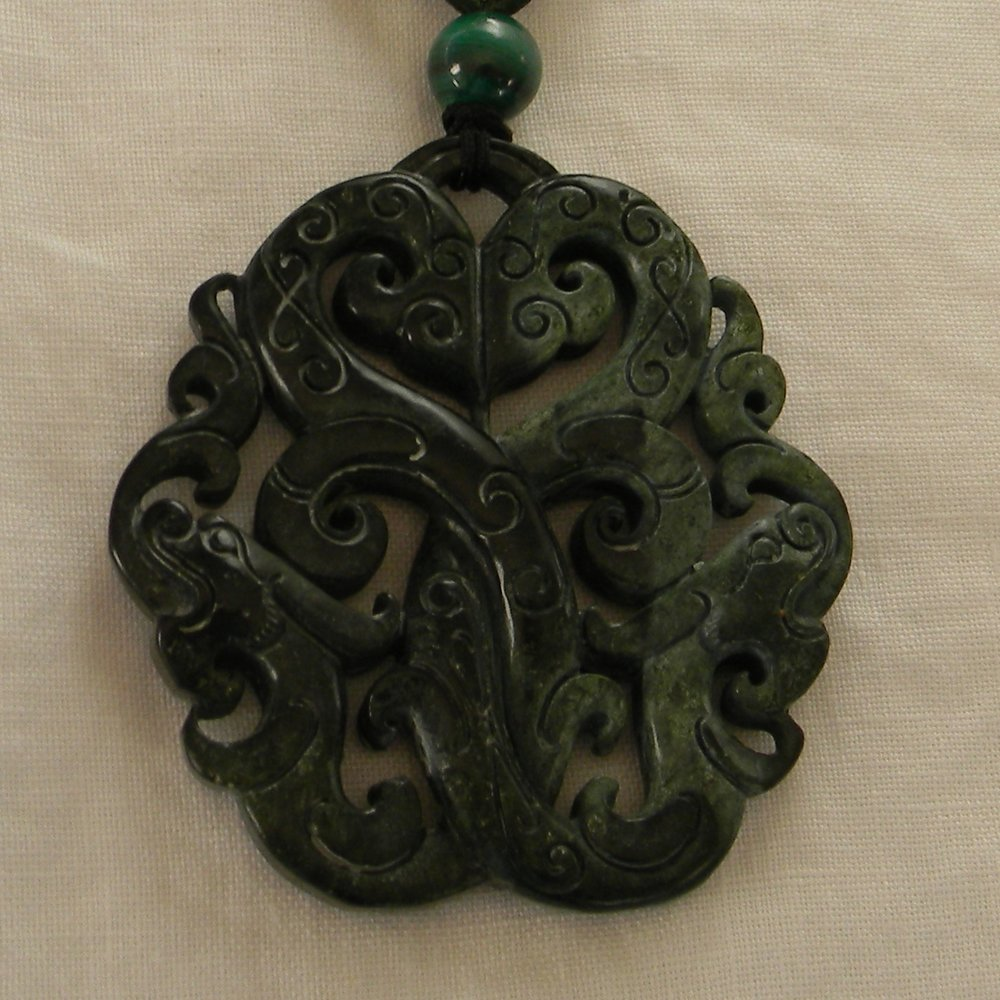 Nephrite dragons pendant w traditional Asian cord necklace , large spinach green carved nephrite ,round dark green Chinese nephrite pendant