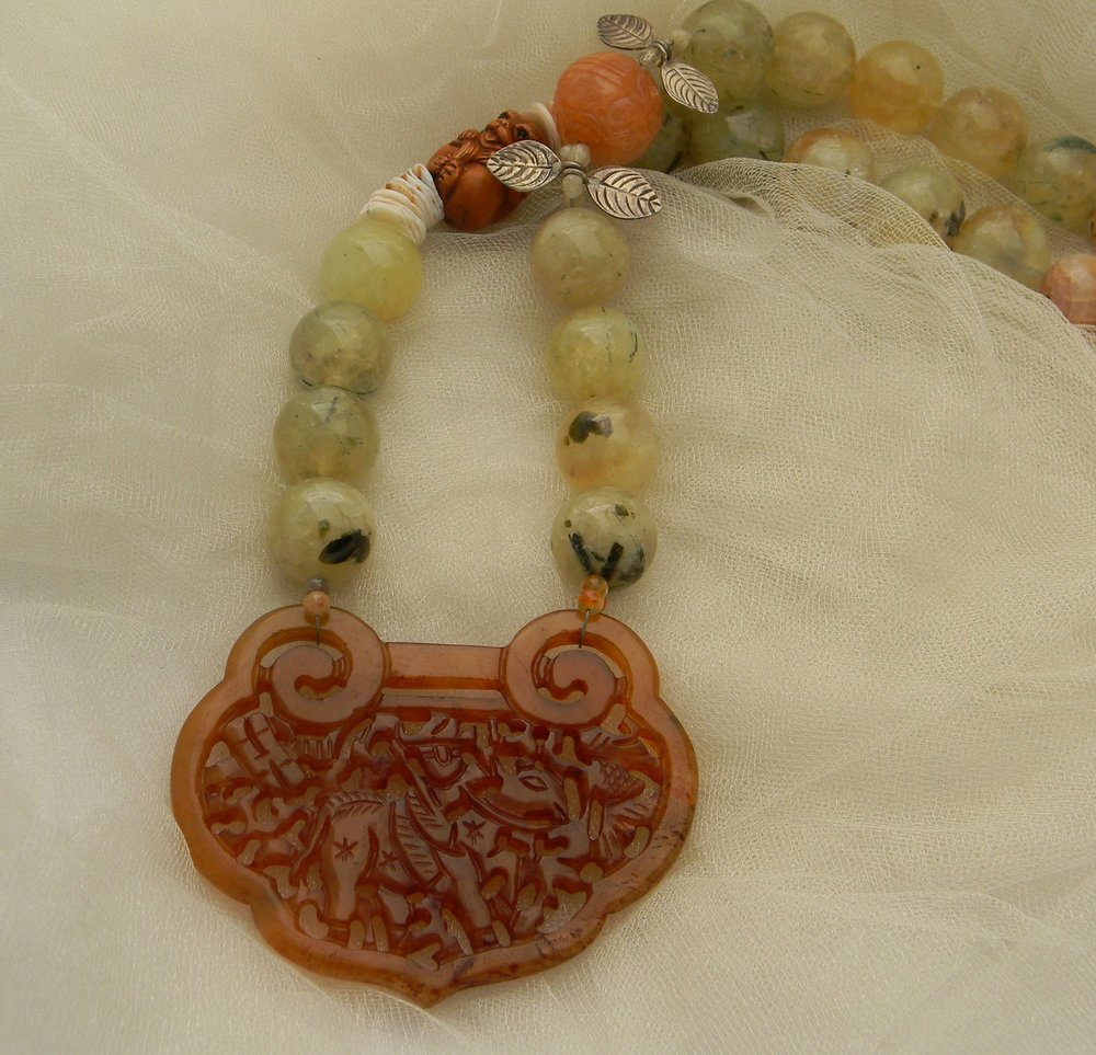 Carved carnelian lock pendant on large prehnite beads necklace , beaded jewelry ,