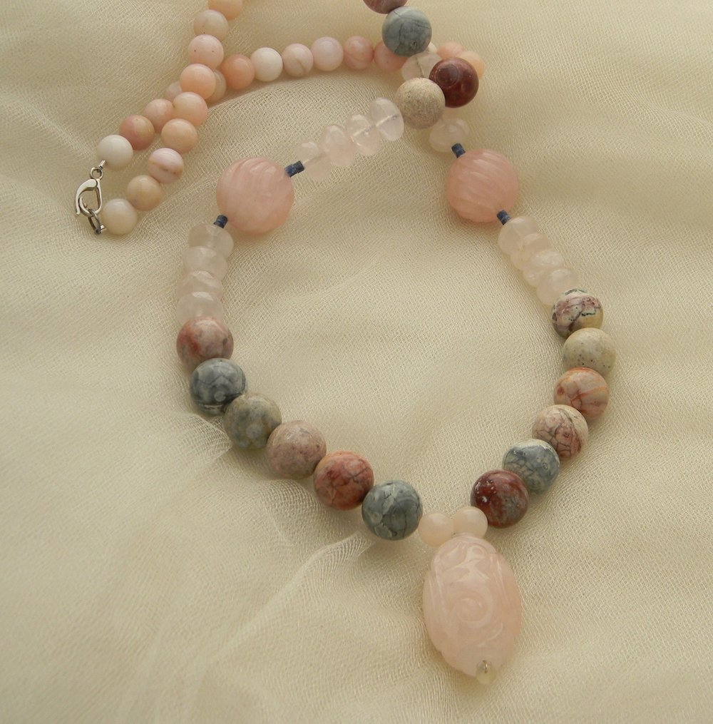 Rose quartz bead pendant on strawberry jasper & pink opal beads necklace ,