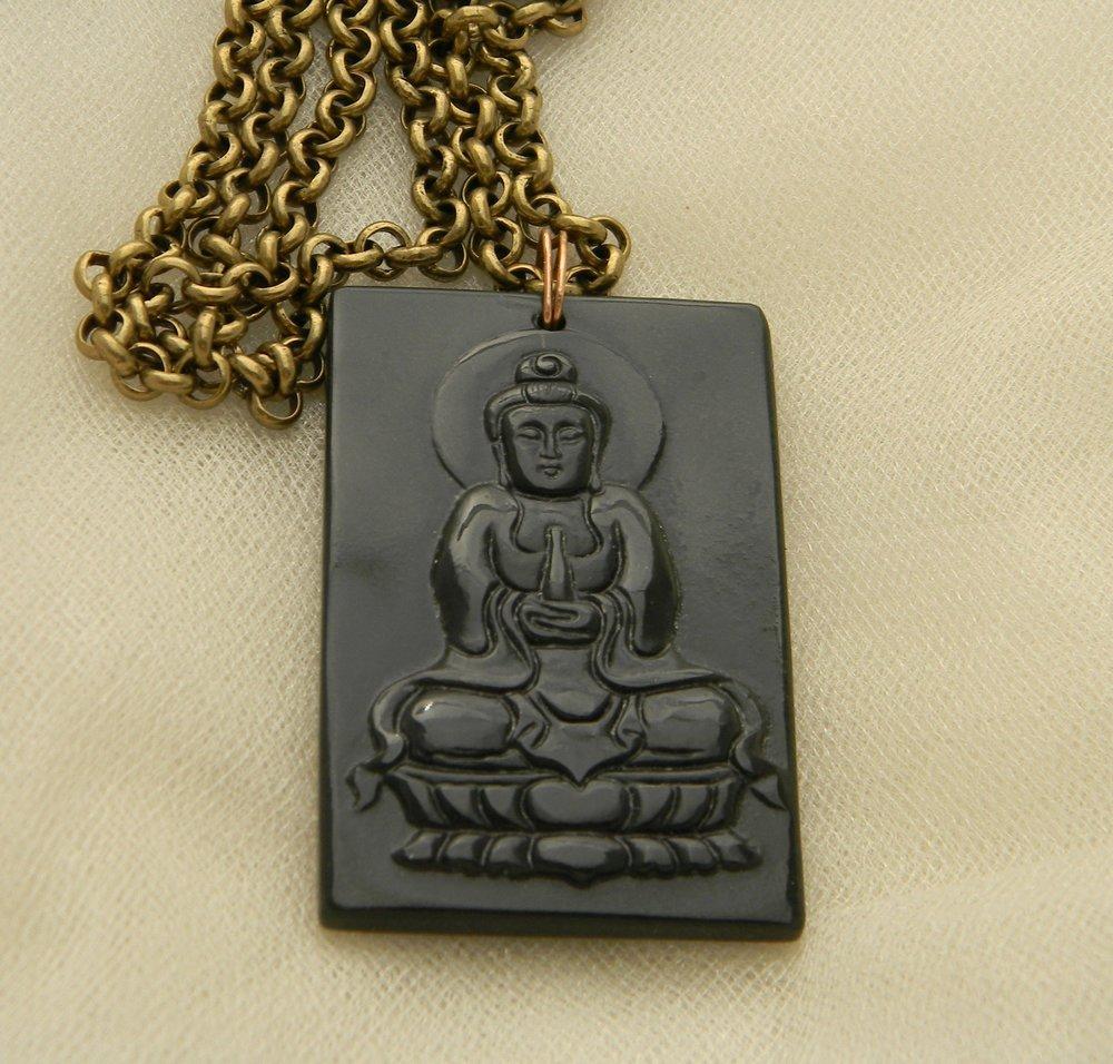 Jade vintage Buddha pendant on brass chain necklace , rare find dark green jade Buddha ,