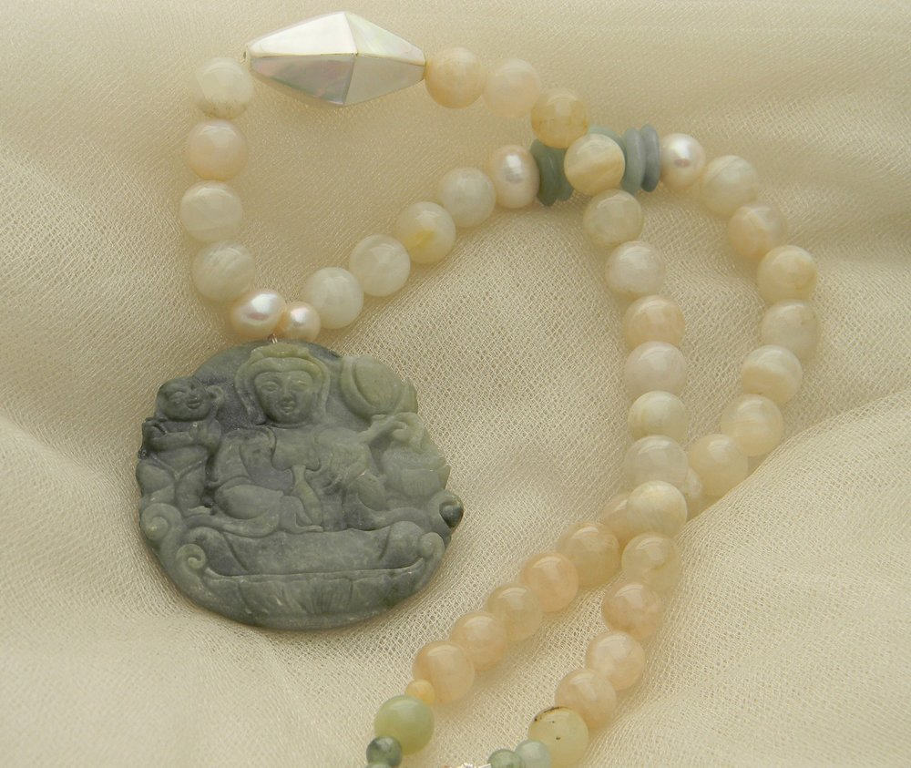 Nephrite Kwan Yin pendant on moonstone beads necklace , beaded jewelry , blue green matte nephrite jewelry 4 women