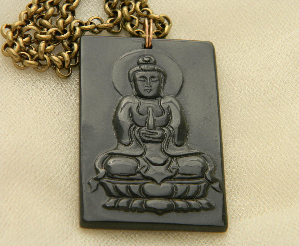 Vintage jade Buddha pendant on brass chain necklace , rare find dark green jade Buddha , Buddhist religious icon jewelry