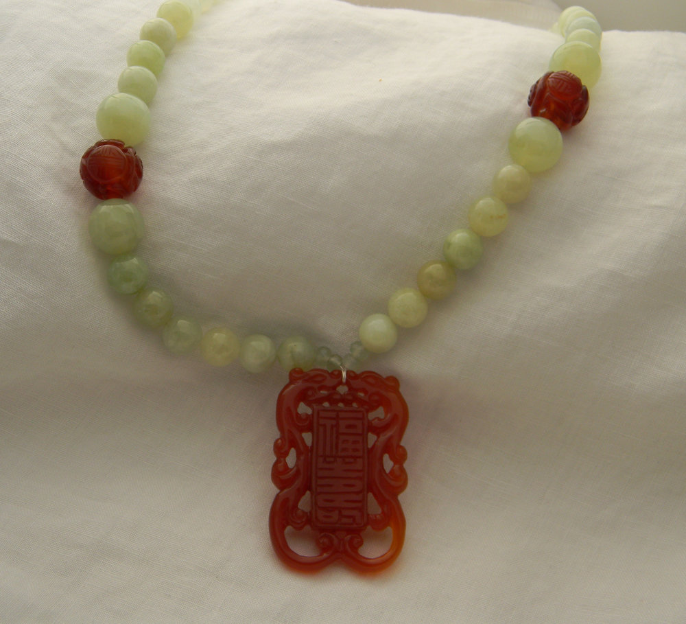 Carved carnelian double dragon pendant & charms on new jade beads necklace , jade jewelry , rare carnelian pendant ,