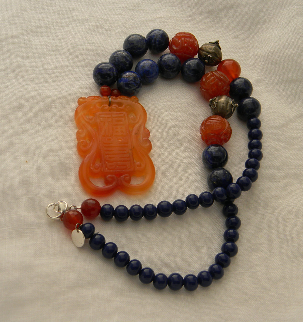 Carved carnelian dragon pendant on lapis lazuli beads necklace , beaded jewelry , lapis jewelry ,