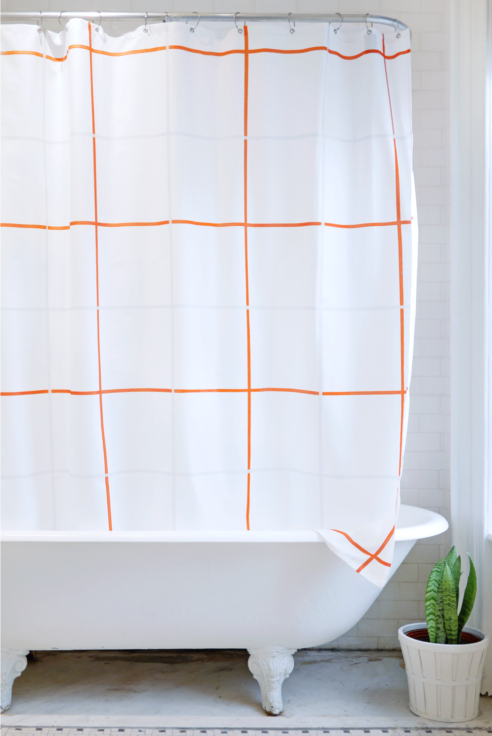 Orange Gray White Grid Shower Curtain Bathage