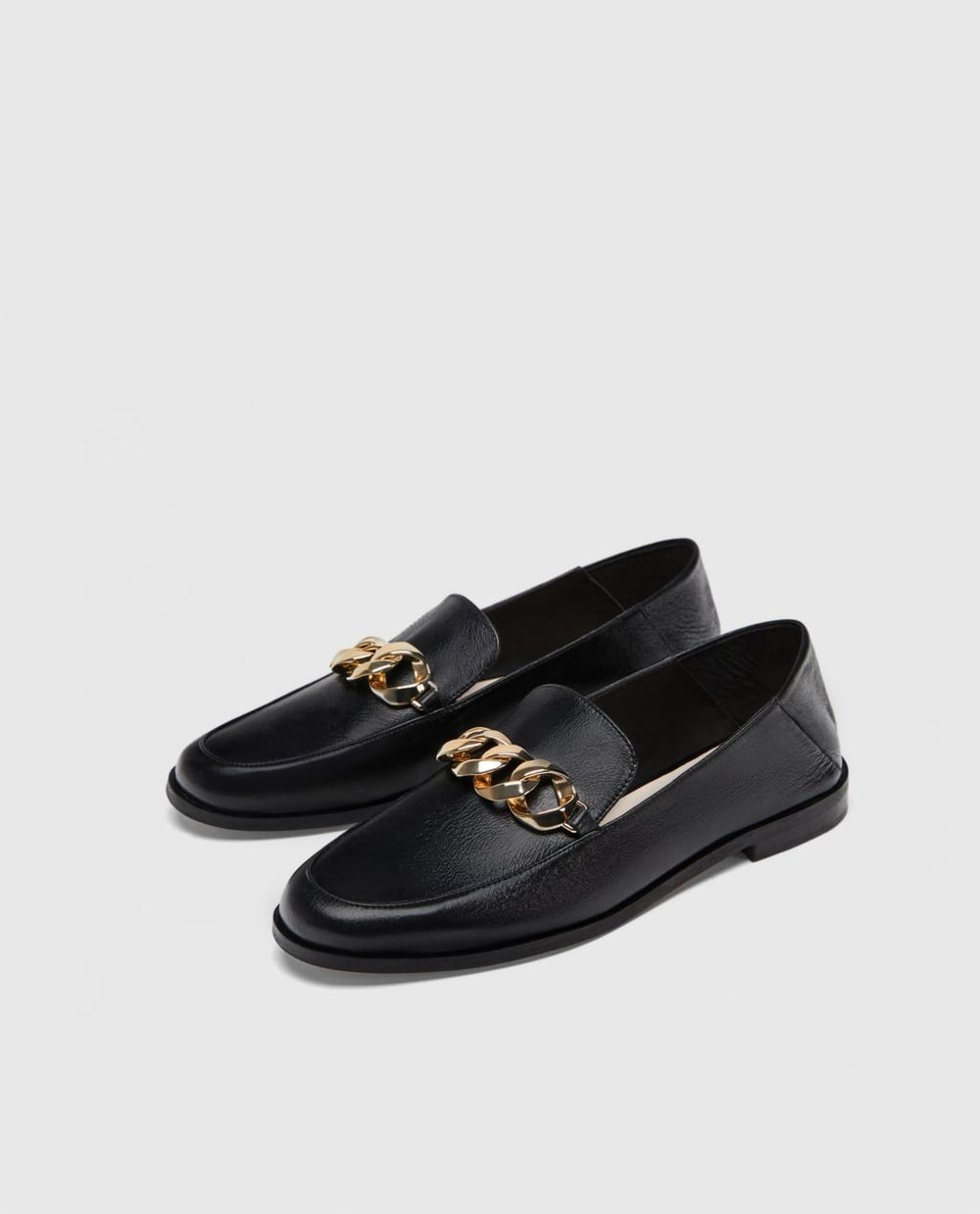 Zara Leather Loafer With Chain Detail