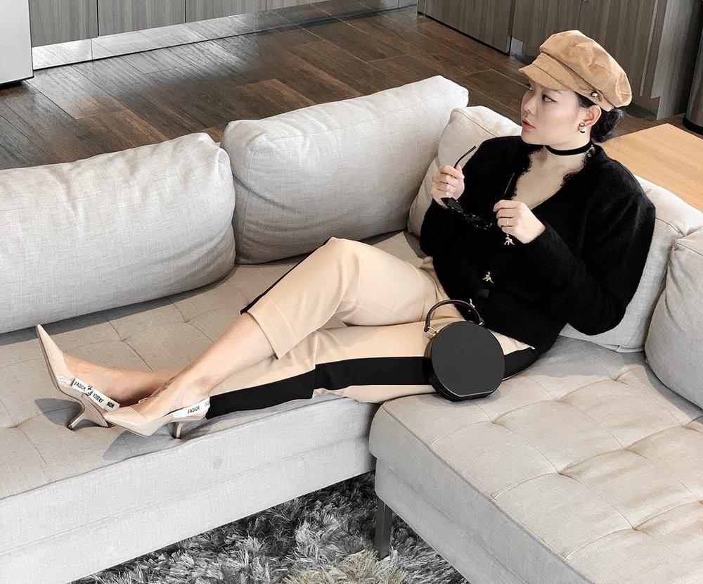 Black & Beige Outfit With Dior J'adior Slingbacks