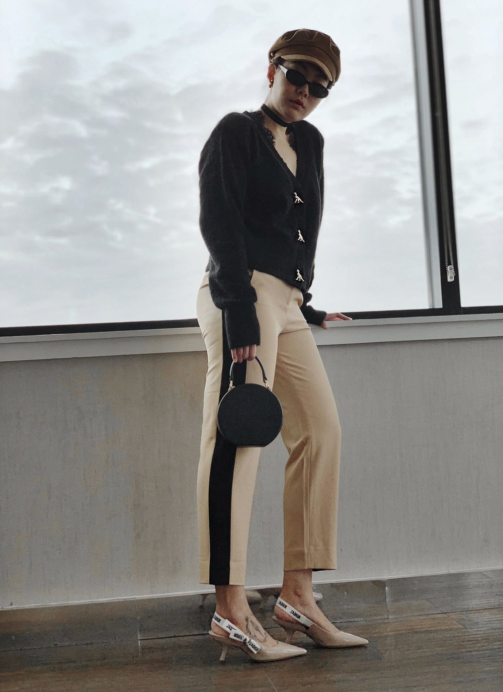 Black & Beige Outfit With Dior J'adior Slingbacks