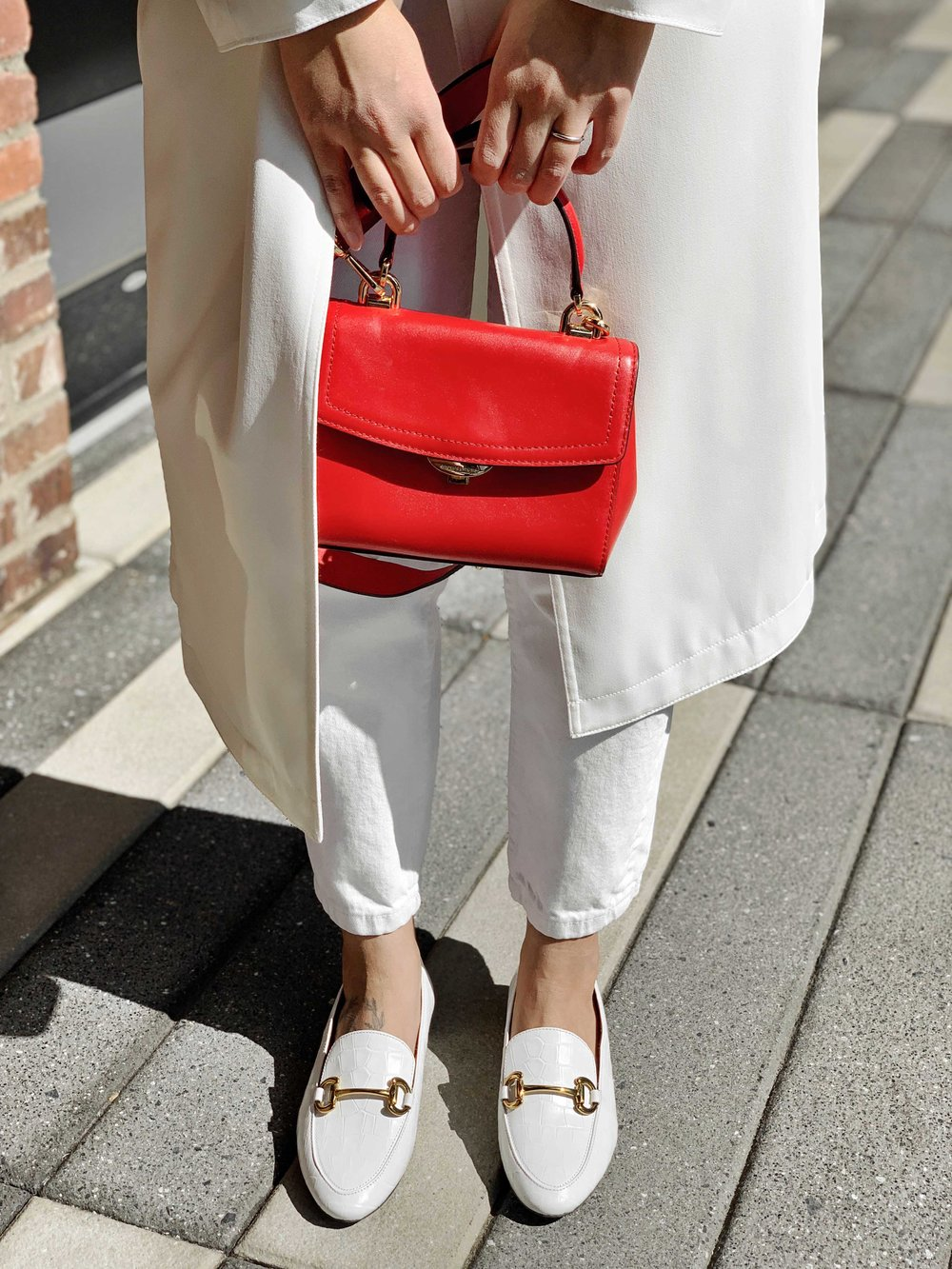 White Outfit With A Pop Of Red