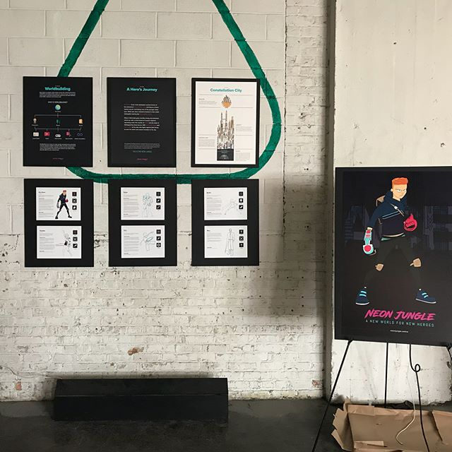 Setup was a success yesterday. Very excited to introduce Neon Jungle to everyone at tonight's show! @lostarts from 5-9 PM. #artshow #comicbook #comicart #indiecomic #graduatethesis #thesis #worldbuilding #characterdesign #lgbtq #gayhero #gayscifi #queerheroes #queercharacters #fantasy #scifi #cyberpunk #magic #transmedia #storytelling #depauluniversity @depaulu #chicagoartist #chicagoart #neonjunglecomic #neonjungle