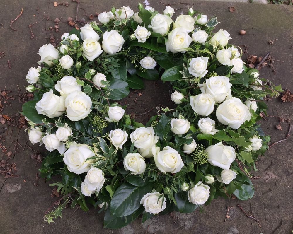 Essex Funeral Flowers - White Rose Funeral Wreath