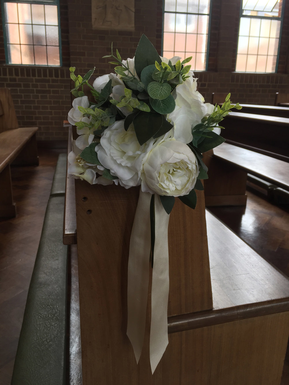 Essex Wedding Artificial Silk Pew End Flower Hire