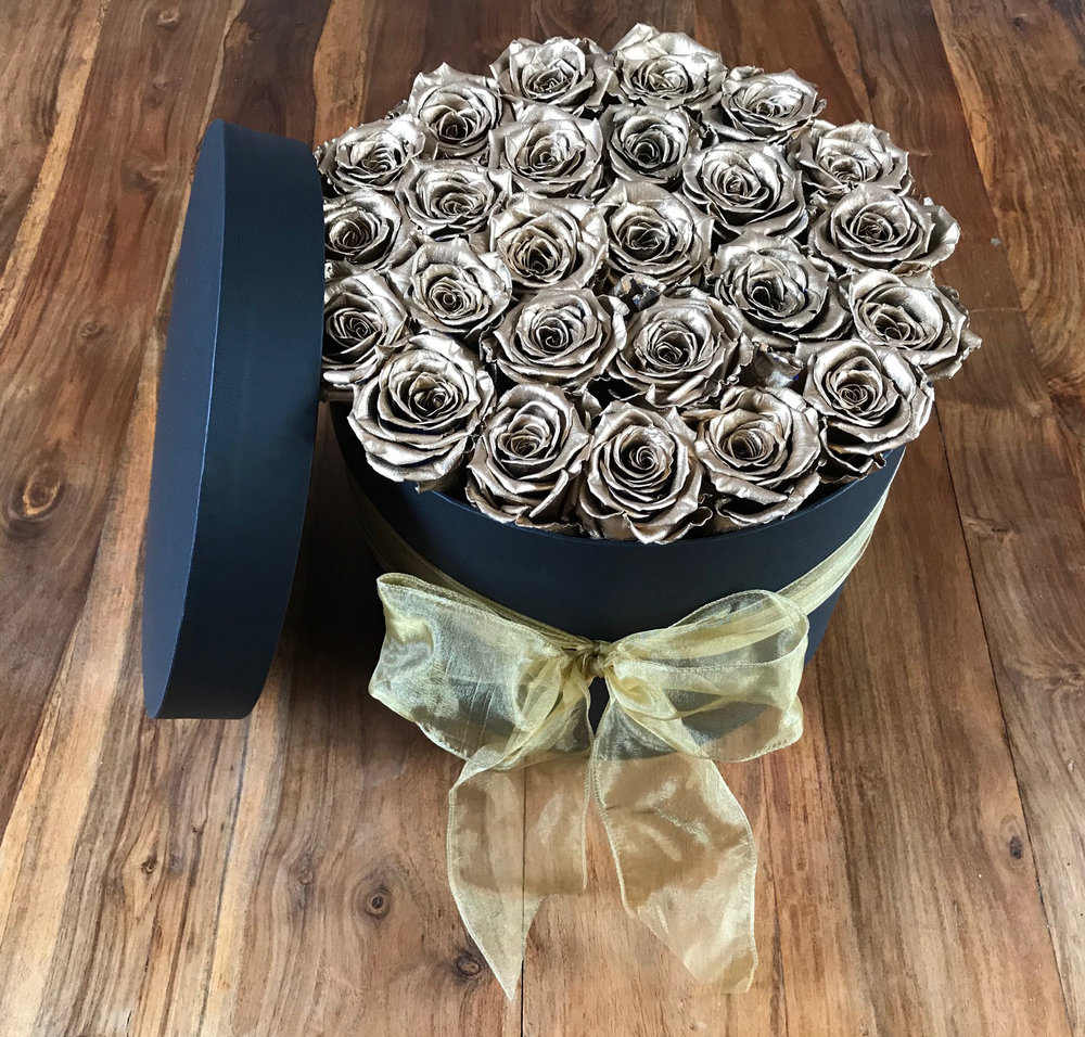 Gold One Year Roses Hat Box Flowers