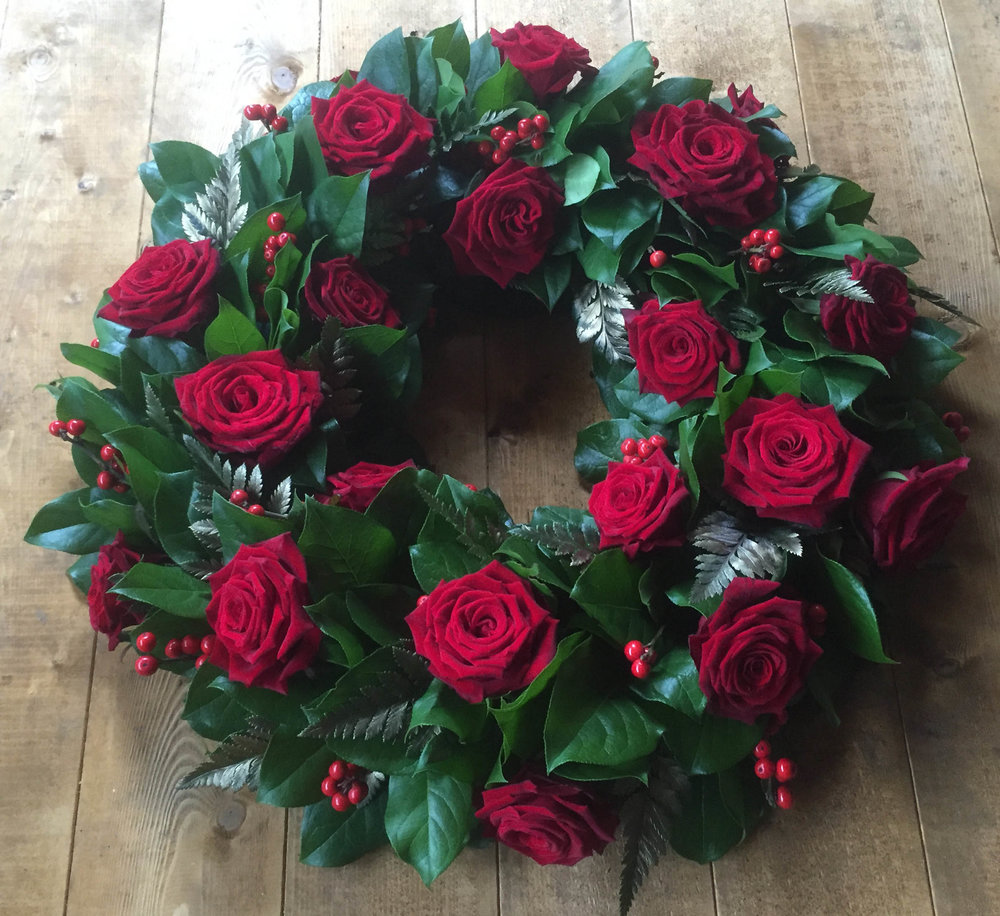 Red Rose Funeral Wreath Harlow