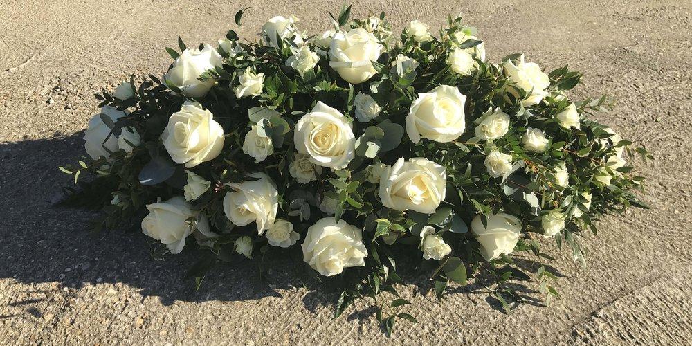 3ft White Rose Casket Spray Funeral Flowers