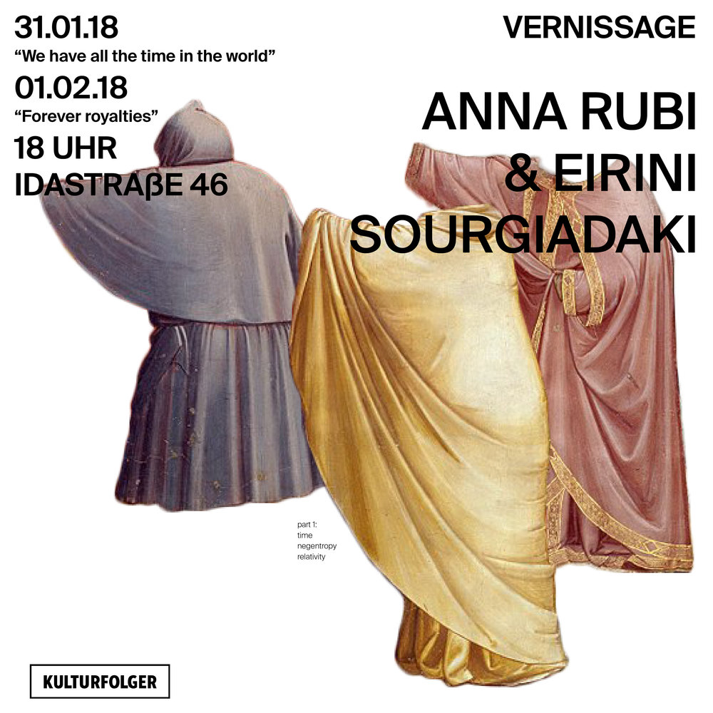 "Anna Rubi and Eirini Sourgiadaki became an artistic duo in 2015. Experimentation plays an important role in their work with a focus on unusual narration modes, balancing between fiction and reality and the use of multiple platforms. They met in Zurich while studying Transdisciplinarity in the Arts (ZHDK). Since then they share their interest in culture hacking and travelling to uncommon and common places - mental and geographical ones. Works they realized together have been presented in the Z+Showroom ZHdK (Zurich, 2016), the London Biennale Manila Pollination (Manila - Berlin, 2016) and MyMuseum (Budapest, 2017)  In Kulturfolger they present one video triptych per day, respectively on the topics on Waiting (Time) and Empathy (Luxury), ""We have all the time in the world"" and ""Forever Royalties"", both realized through a complex and restricted way of storytelling.  In the 24hrs Project, they present the two triptychs alongside a third work called ""We buy gold ltd"" which takes the form of a series of five prints, which tell a metaphorical success-and-failure story about the gold market in the Europe of crisis.   Anna Rubi completed her bachelor studies in the Moholy-Nagy University of Art and Design in the media design in Budapest. After receiving her diploma, she was awarded with the Swiss Government Excellence Scholarship. In 2015 she graduated from the Zürich University of the Arts in transdisciplinary art (MA). She is a member of FKSE (Studio of Young Artists' Association) and has been working in the field of video art, film and performance. At the moment she is collaborating with Hungarian Civil Liberties Union as a documentary film maker.  Eirini Sourgiadaki holds a BA in Sociology and a MA in Cultural Management from Panteion University of Social and Political Science in Athens. She has also studied Greek and English/American Poetry and has been trained as a dancer. In 2017 she graduated from MA Transdisciplinarity in the Arts, awarded with the Hirschmann Stipendium, ZHdK Fonds Design & Kunst and the ZHdK Avina Fonds with her project ""Metaphorai"". Between 2010 and 2017 she has published four books (fiction, poetry) in Athens and Zurich. She is collaborating with the Theaterhaus Gessnerallee Zürich for her event series ""The Analog Session"" and since November 2017 she is a PhD candidate by Prof. Giaco Schiesser (ZHdK / Kunstuniversität Linz)"