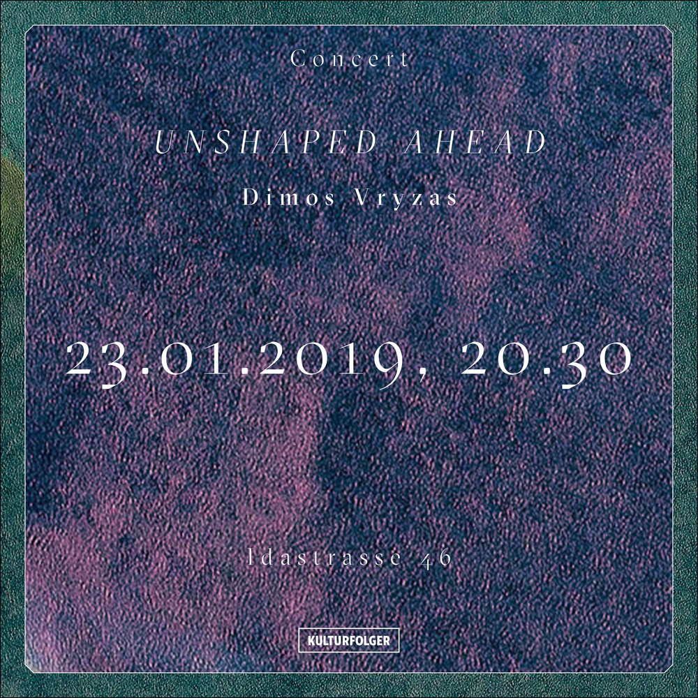 """Unshaped_Ahead is the solo music project of Dimos Vryzas, violinist from Thessaloniki/Greece. The project is based on minimal melodies, ambient/noise sounds and improvisation. The violin is the main instrument being used. Live-looping is the technique to create the songs.  Other instruments, samples or spoken words are used from time to time during the gigs.  Improvisation is a major element of the project. Random """"accidents"""", drone sounds and rhythm are also important """"tools"""" of this music.  Unshaped_Ahead participates in collective actions.  The project was created in August 2013 in Thessaloniki. The first album was released in February 2015. Unshaped_Ahead made several tours (Portugal, Spain, Germany) and collaborated with lots of artists( musicians, painters, graphic designers etc).  Currently the music project is active and based in Basel, Switzerland.   http://unshapedahead.com/"""