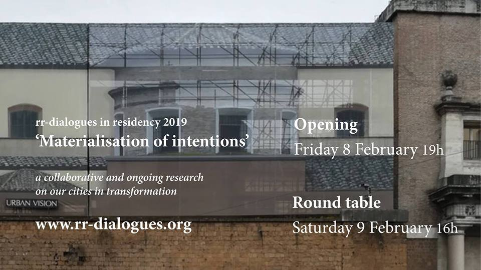 'Rotate and change the perspective'  This is the first of eight events that rr-dialogues will organise during a one-year residency at Kulturfolger, Zürich.  rr-dialogues is the collaborative research platform of architecture collective rotative research, founded in november 2017 by architects Alexandra Sonnemans and Caterina Viguera (based respectively in Rotterdam and Zürich).   The platform exists in parallel to their work practice, with the aim to expand and exchange knowledge on a variety of architectural topics. The first topic 'Materialisation of intentions' has been ongoing since april 2018 on the digital platform:  www.rr-dialogues.org.     MATERIALISATION OF INTENTIONS Within the 'city in transformation' we find a wide range of large scale publication methods that inform us about the new developments that re-shape our cities. These temporary infrastructures offer a wide spectrum of readings and become suggestions for us to imagine the potential impact on site.   What is the relation between intentions and their materialisation on site?    Since the platform's launch in april 2017, over twenty-five authors from different disciplines and cities have joined, combining theoretical, artistic and empirical research.  Pavle Stamenovic , architect and Phd candidate based in Belgrade, is a 'special guest editor'.   'rr-dialogues in residency 2019', will use the space of Kulturfolger every 6 weeks, to develop and implement the 'dialogues' into a growing exhibition, including spatial installations and open round tables with special guests.   Join us!   NEXT UP:  8 February 19h: OPENING by Alexandra, Caterina and Pavle, followed by a PRESENTATION & DRINKS 9 February 16h: OPEN ROUND TABLE & WORKSHOP  __ For more information, please visit the interactive website:  www.rr-dialogues.org  Website developed together with  Josef Alexander