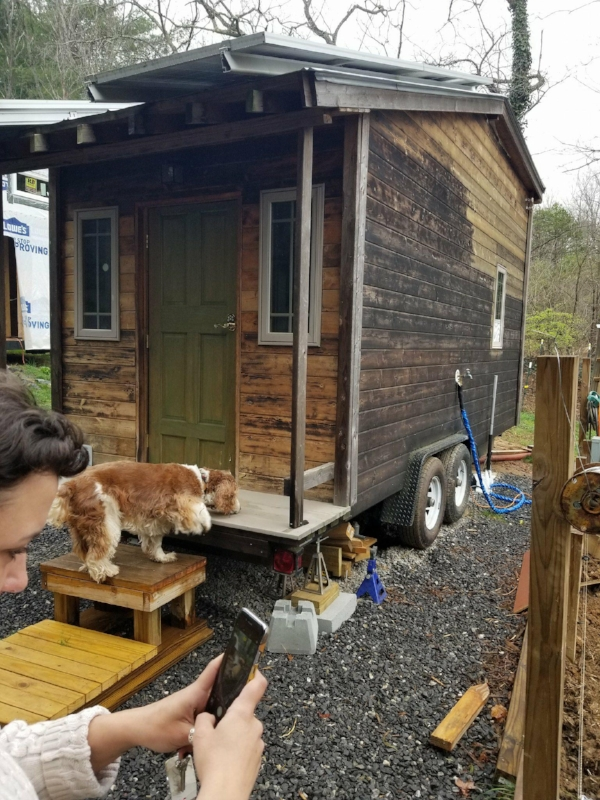 Our friends  @DIYTiny  outside of Asheville, and their  Tiny House on AirBNB . Plus Sara taking a picture of a pig and a springer spaniel named Max.