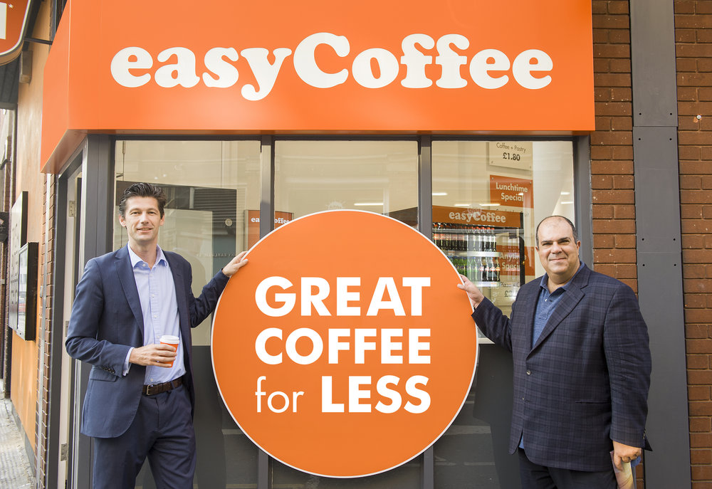 Co-Founders of easyCoffee  Nathan Lowry  | CEO of easyCoffee and  Sir Stelios  Haji-Ioannou | Chairman of easyGroup