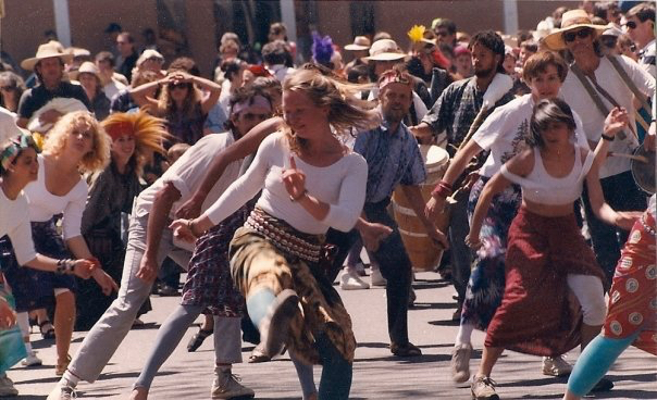 Elise Smith Gent leading the dance section of a parade in downtown Santa Fe 1990s
