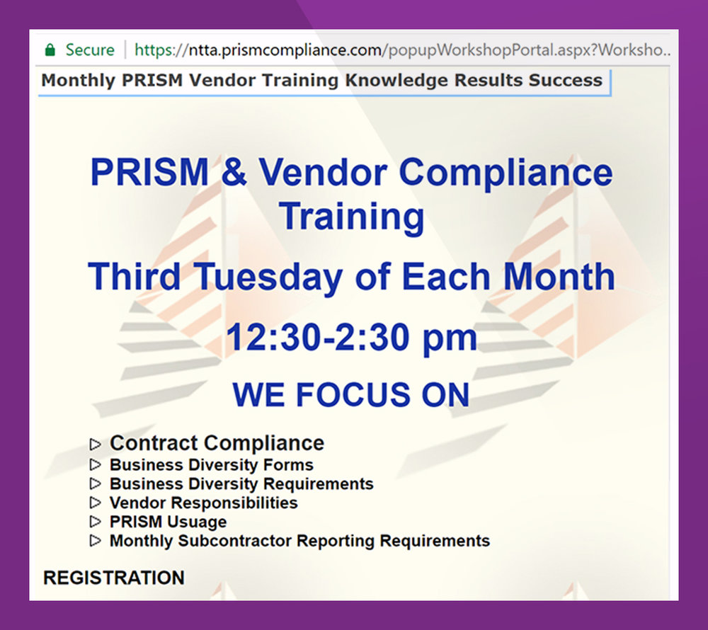 - Post News and Events to PRiSM Portal - trainings, workshops, and outreach programs to contractors – and maintain a portfolio of events your organizations led or participated. Survey suppliers for needed technical assistance and feedback on events conducted.