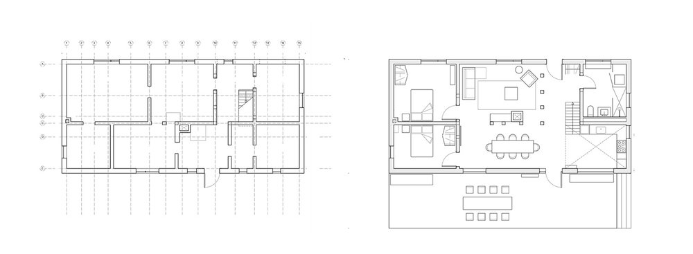 Renovation and exposure of existing structure. net-zero house, ground plan