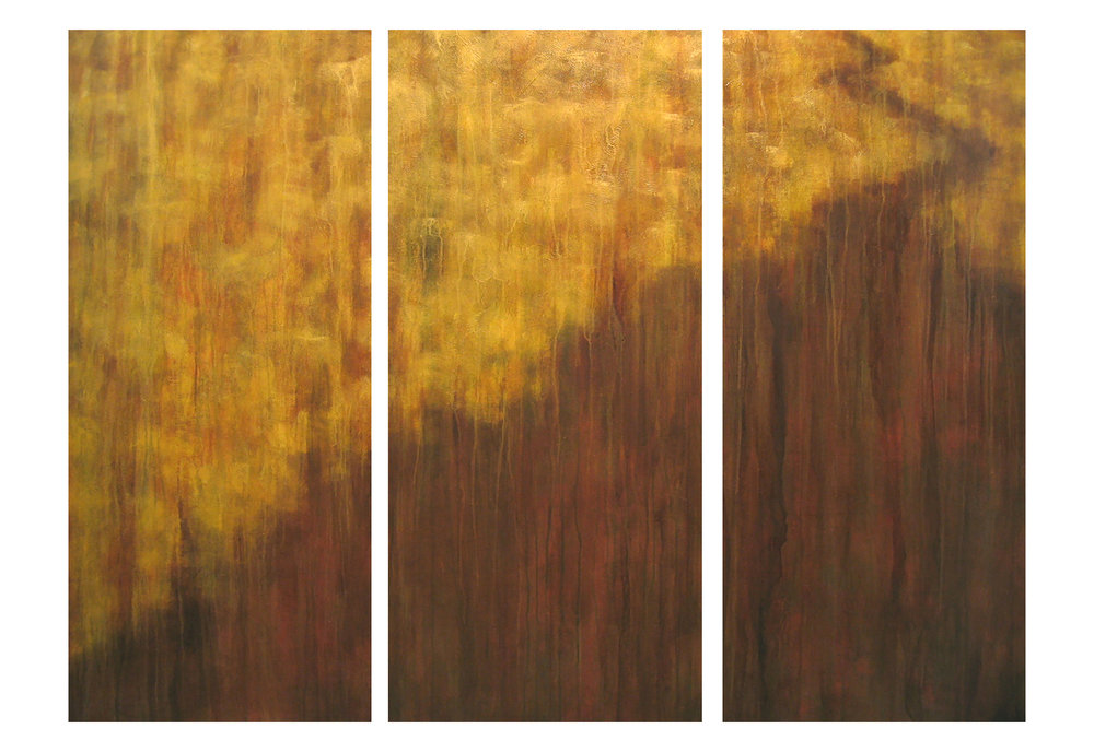"To See One's Way  3 panels, 52""h acrylic on hand-built canvas ©Karen Zilly  Site-specific commission for NYC client"