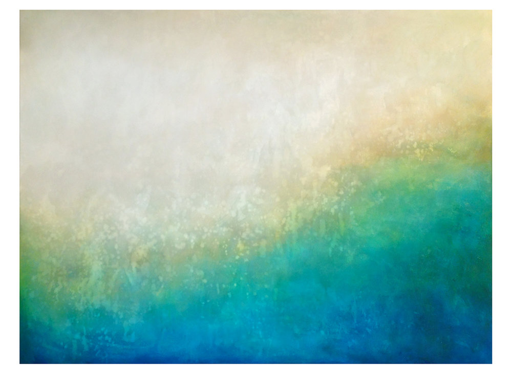 "Coastal Abstract, 1  36"" x 48"" acrylic and paste on hand-built canvas ©Karen Zilly  SOLD"