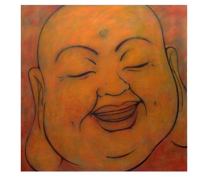 "Happy Buddha    40"" x 40"" acrylic on canvas ©2017 Karen Zilly    SOLD"
