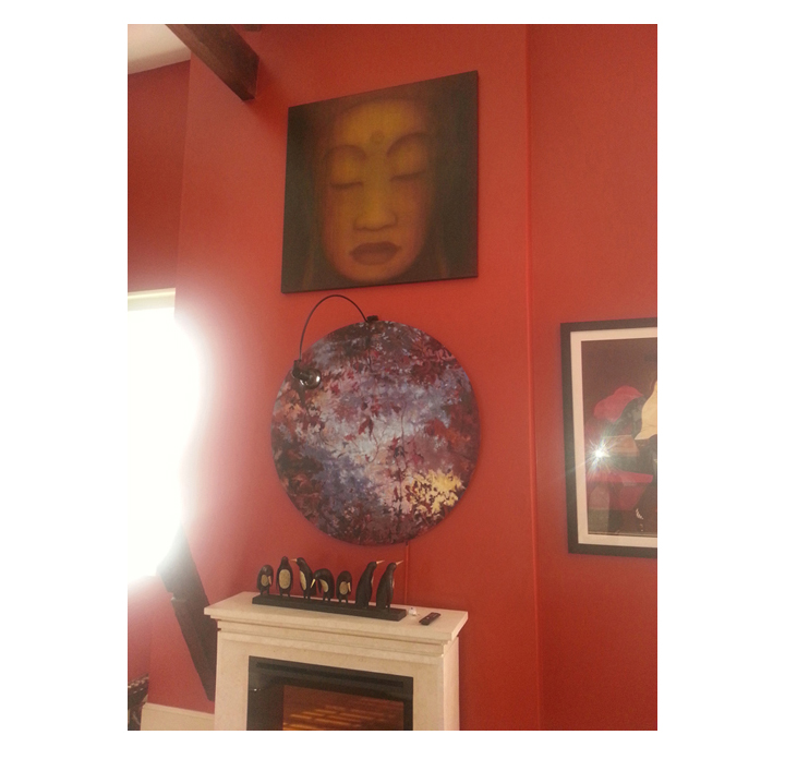 """Restoration  Custom Buddha for residence in New Orleans, LA.  48"""" x 48"""" acrylic on hand-built canvas ©Karen Zilly  SOLD"""