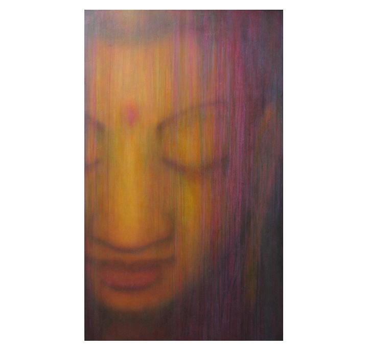 "Buddha: Love    36"" x 60"" acrylic on hand-built canvas ©Karen Zilly    SOLD"